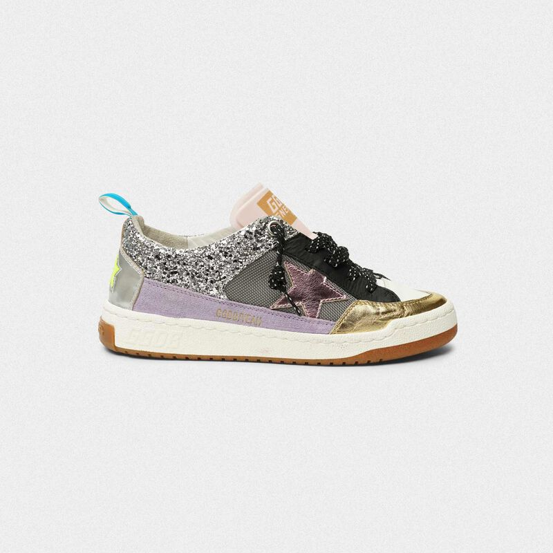Golden Goose - Yeah! sneakers in silver mesh with a pink star in  image number null