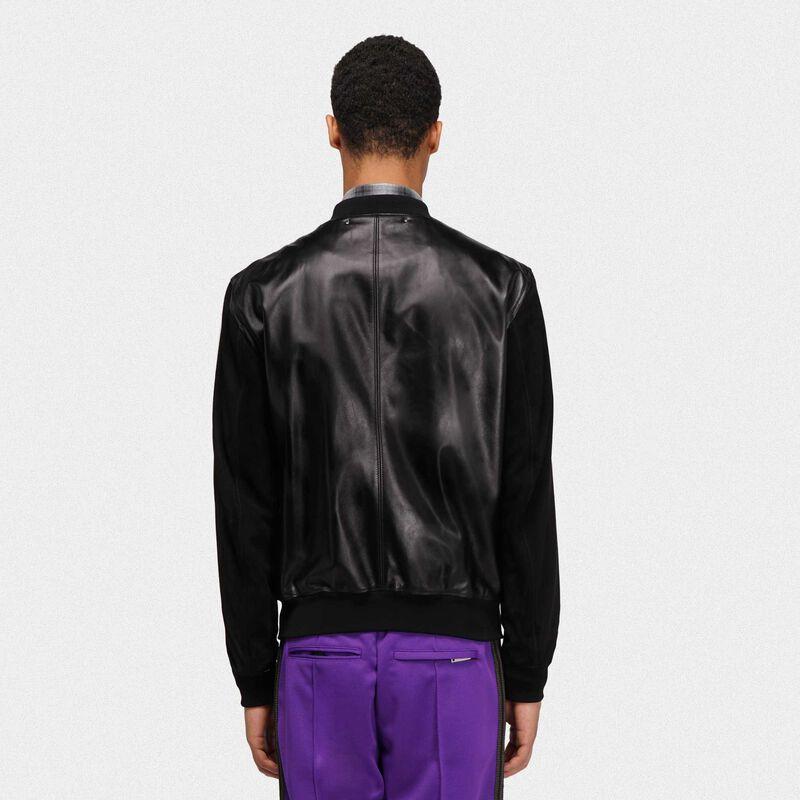 Golden Goose - Black leather Dylan bomber jacket in  image number null
