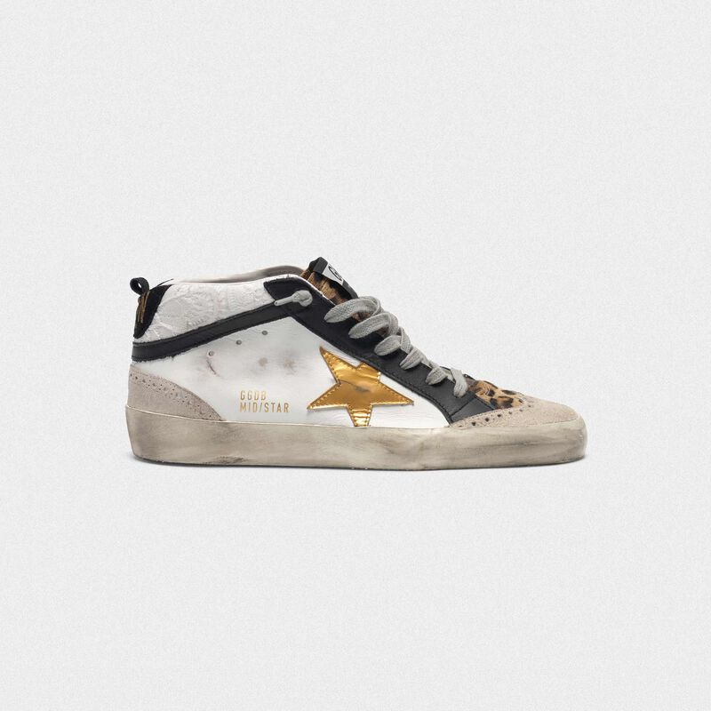 Golden Goose - White Mid-Star sneakers with leopard-print pony skin insert in  image number null