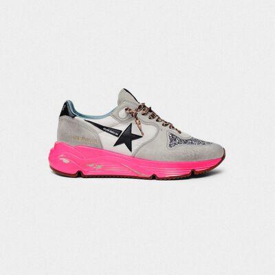 Sneakers Running Sole con glitter e suola fuxia