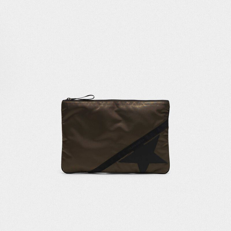 Golden Goose - Pouch Journey large in nylon verde militare in  image number null