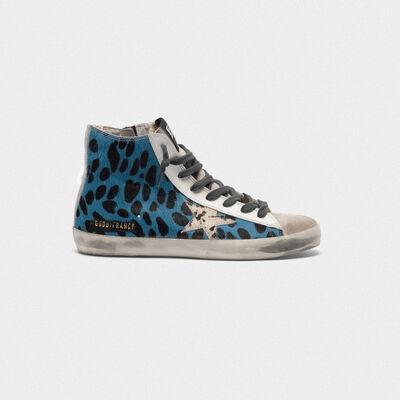Sneakers Francy con in cavallino blu stampa leopardata