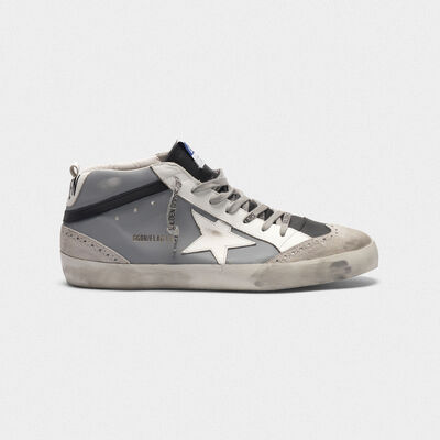 Sneakers Mid-Star in pelle con puntale in camoscio
