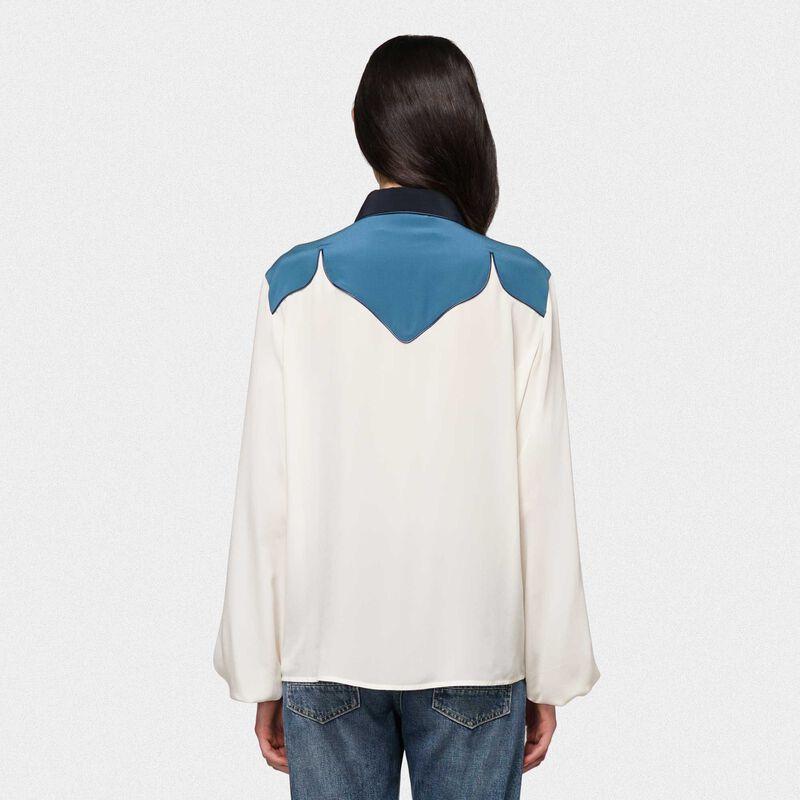 Golden Goose - Camicia Madelyn bicolore in seta e borchie sul collo in  image number null