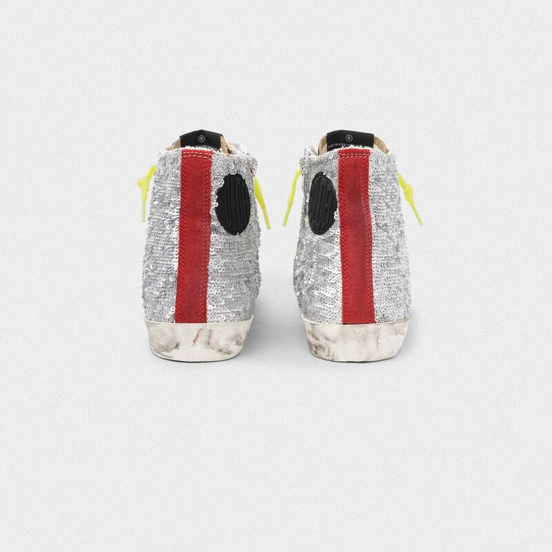Golden Goose - Francy sneakers with silver sequins and leopard-print pony skin in  image number null