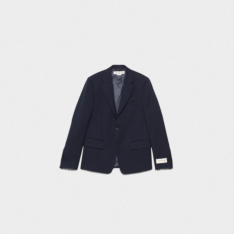 Golden Goose - Venice single-breasted jacket in wool crêpe in  image number null