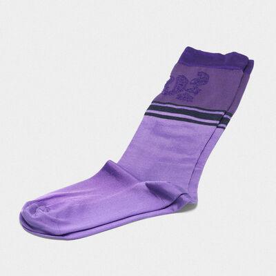 Purple Addison socks with jacquard pattern