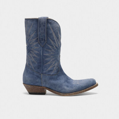 Low Wish Star boots in denim-effect leather