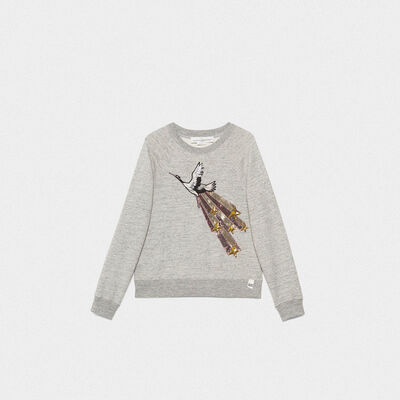 Haruko sweatshirt in pure cotton with sequin embroidery
