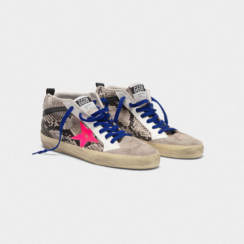 Golden Goose - Mid Star sneakers in snakeskin print leather with fuchsia star in  image number null