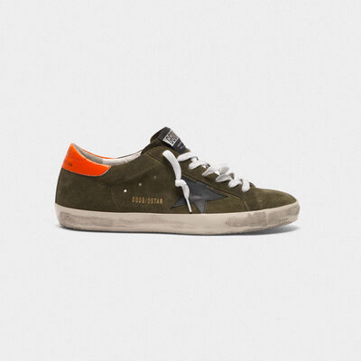 Superstar sneakers in suede with orange heel tab