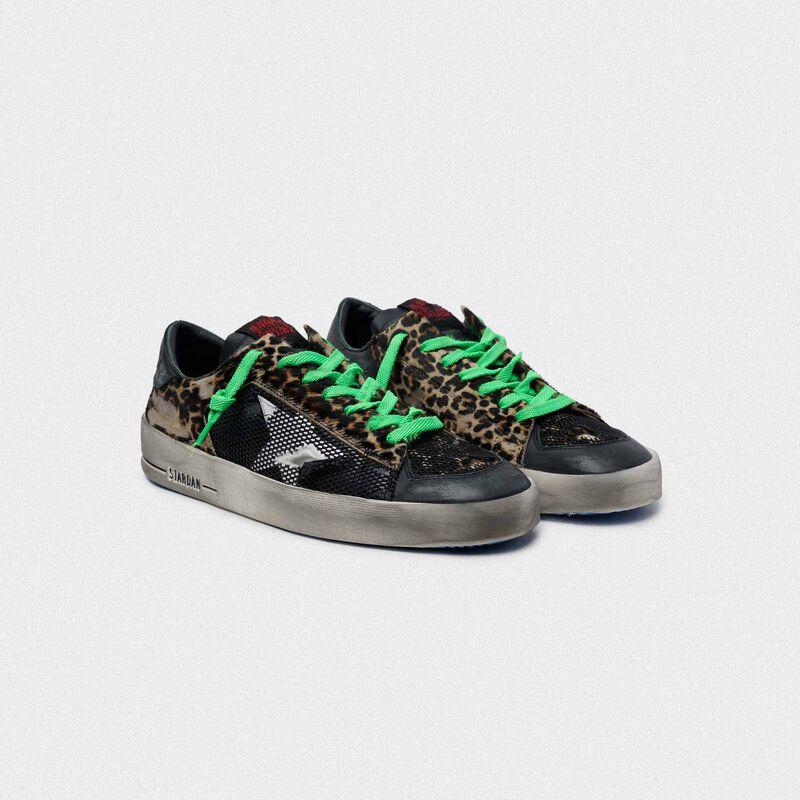 Golden Goose - Sneakers Stardan leopardate con lacci verdi in  image number null