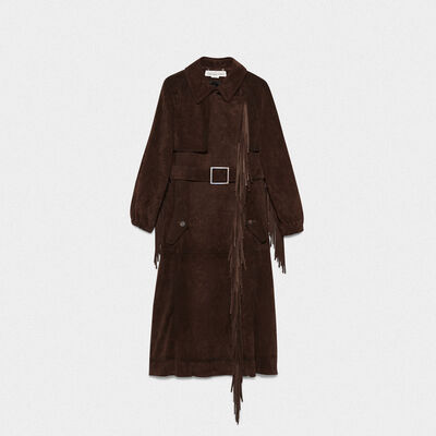 Sumire trench coat in cowhide with fringe