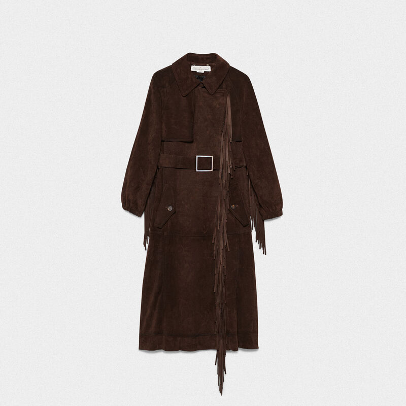 Golden Goose - Sumire trench coat in cowhide with fringe in  image number null