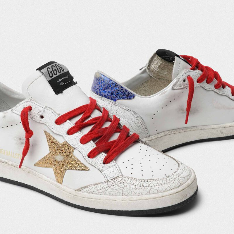 Golden Goose - White Ball Star sneakers with gold star and blue heel tab in  image number null