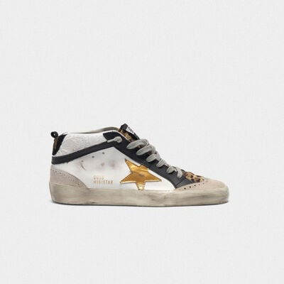 White Mid-Star sneakers with leopard-print pony skin insert