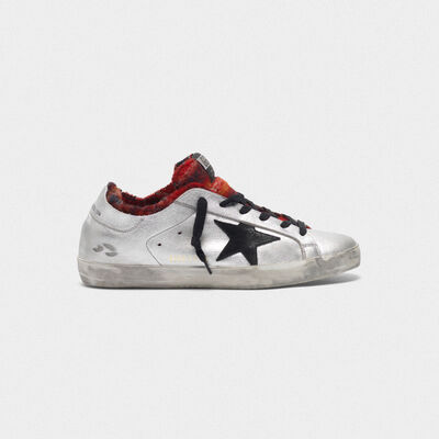 Silver-laminated Superstar sneakers with tartan interior