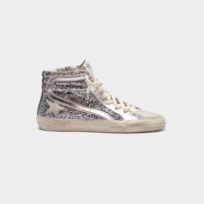Slide sneakers in silver laminated leather and glitter