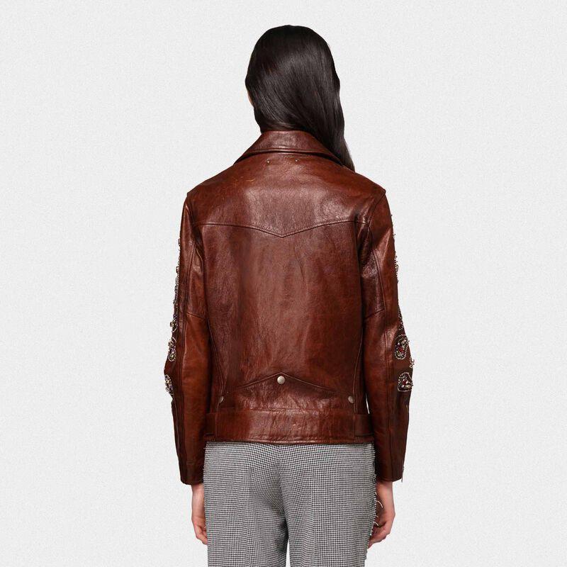 Golden Goose - Victoria biker jacket in dark brown crust leather in  image number null