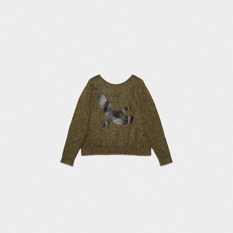 Golden Goose - Yumi crew neck sweatshirt with crane print in  image number null