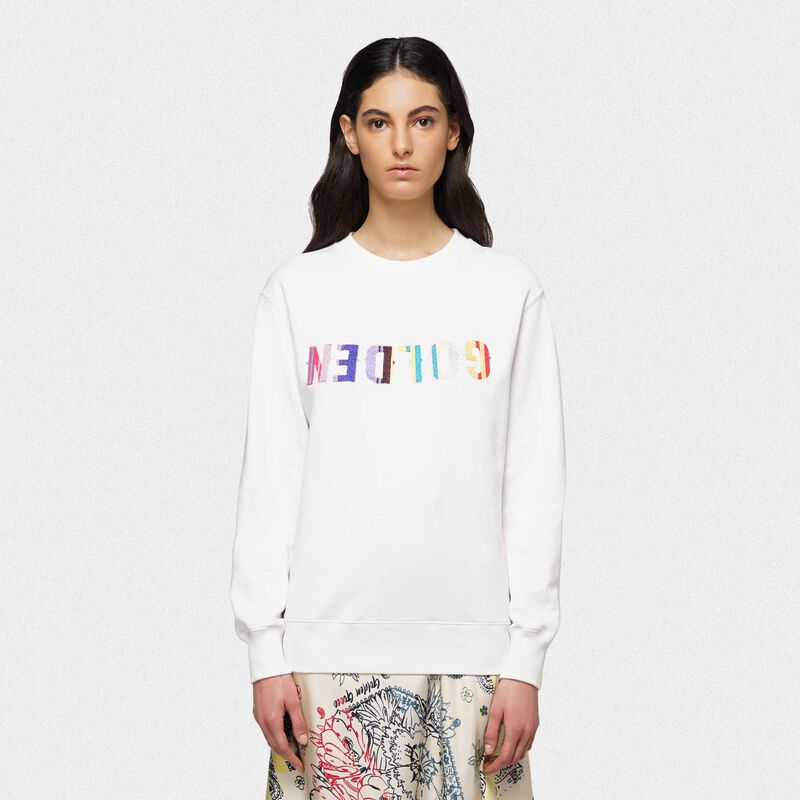 Golden Goose - Golden sweatshirt with embroidered multi-colour logo in  image number null