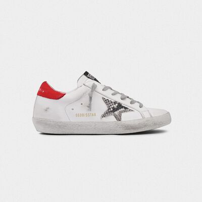 Superstar sneakers with snakeskin-print star and red heel tab