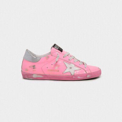 Pink Superstar sneakers with silver heel tab