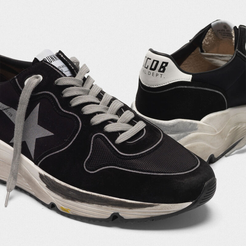 Golden Goose - Sneakers Running Sole in pelle e lycra con stella silver in  image number null
