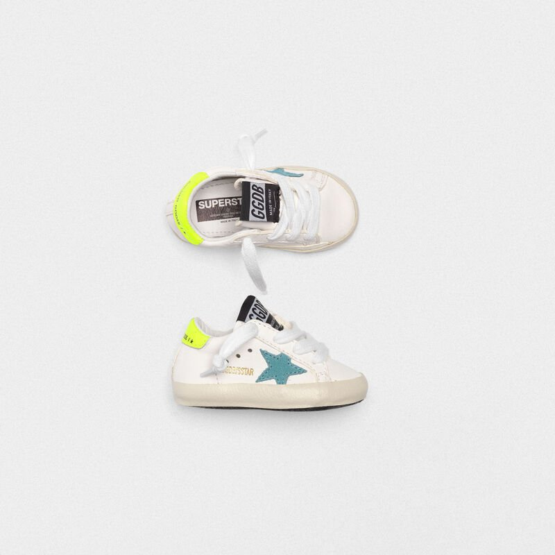 Golden Goose - Superstar sneakers with blue star and fluorescent yellow heel tab in  image number null