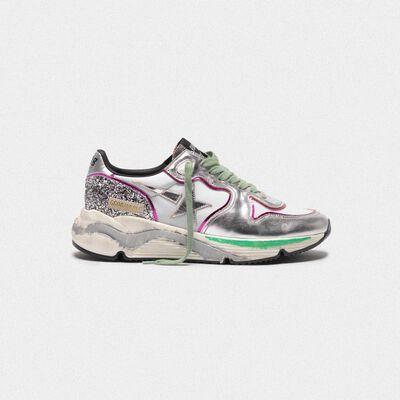 Sneakers Running Sole argentate con glitter e profili fucsia