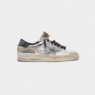 Stardan LTD sneakers in laminated silver with floral design relief