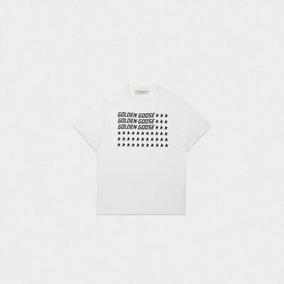 White Golden T-shirt with flag print