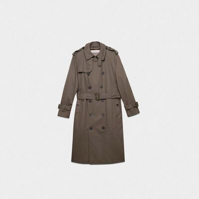 Military green Samuel trench coat with nylon inserts