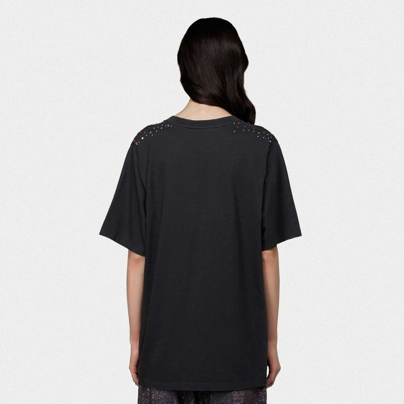 Golden Goose - Black oversize T-shirt with lion print and crystals in  image number null