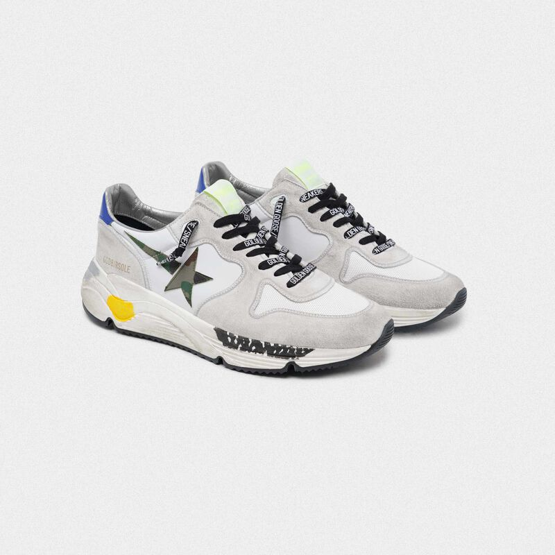 Golden Goose - White Running Sole with camouflage star in  image number null