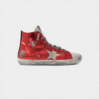 Sneakers Francy in pelle rossa laminata e lacci leopardati