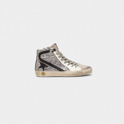 Slide sneakers with glitter detail and leather details