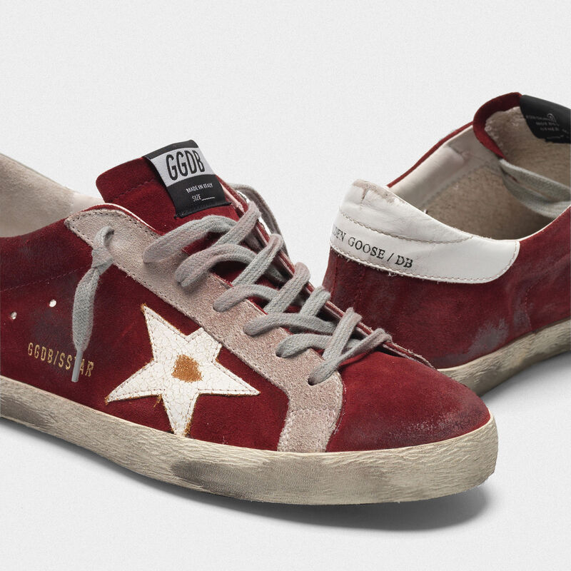 Golden Goose - Superstar sneakers in suede leather with crackle star in  image number null