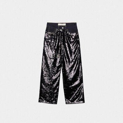 Pantaloni Breezy con paillettes reversibili e denim