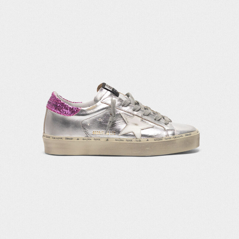 Golden Goose - Hi-Star white and gold sneakers with sparkle foxing in  image number null