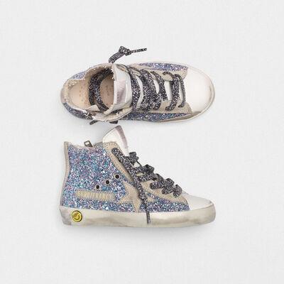 Sneakers Francy bianche in pelle e glitter multicolor