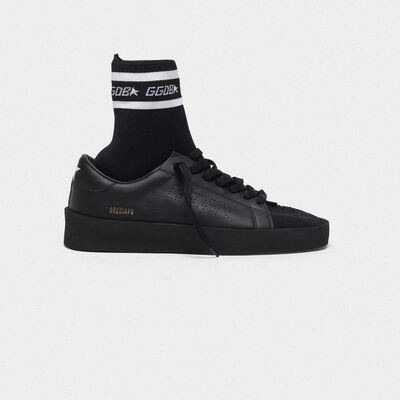 Sneakers High End in pelle con inserto calzino