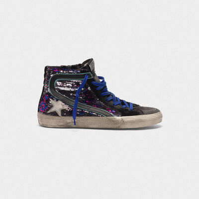 Sneakers Slide in suede e paillettes