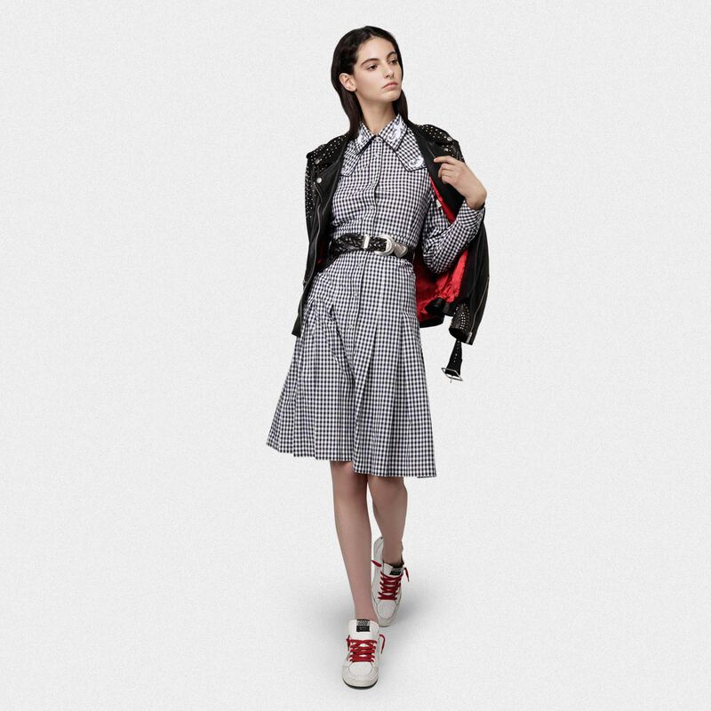 Golden Goose - Olivia dress with black and white checks and cowboy-style decorations in  image number null