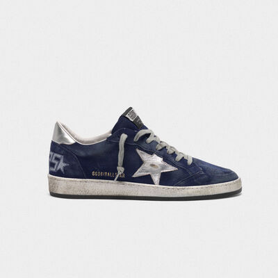Ball Star sneakers in navy blue suede with silver star