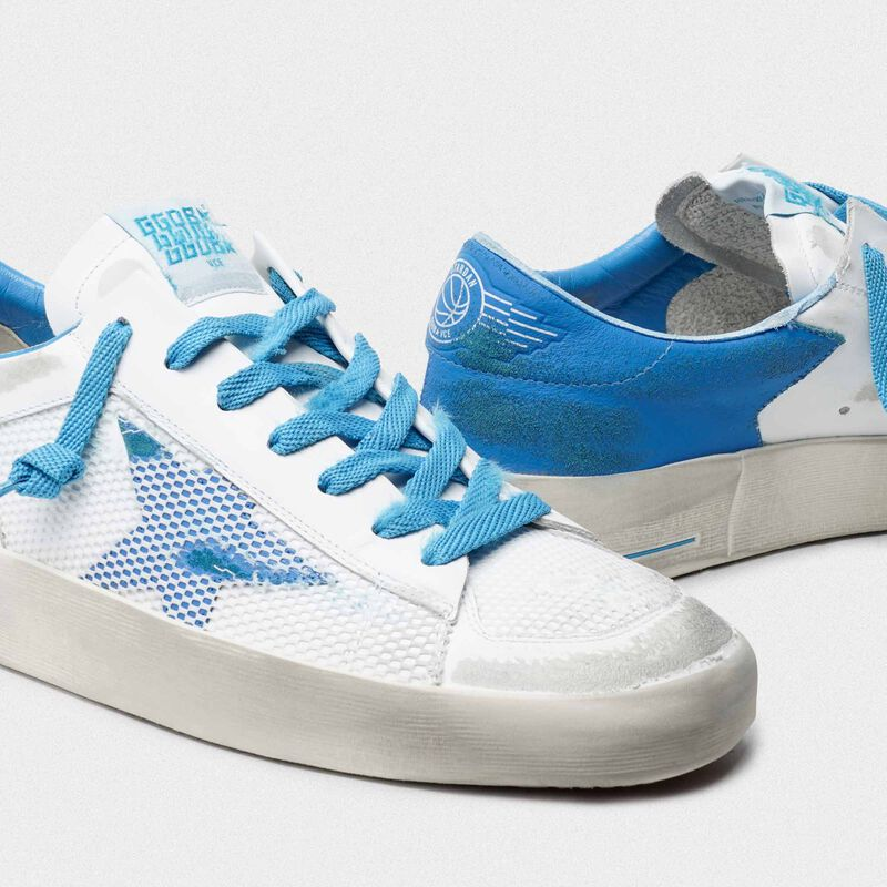 Golden Goose - White and light blue Stardan sneakers in  image number null