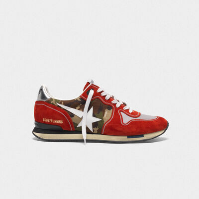 Sneakers Running rosse in suede e motivo camouflage