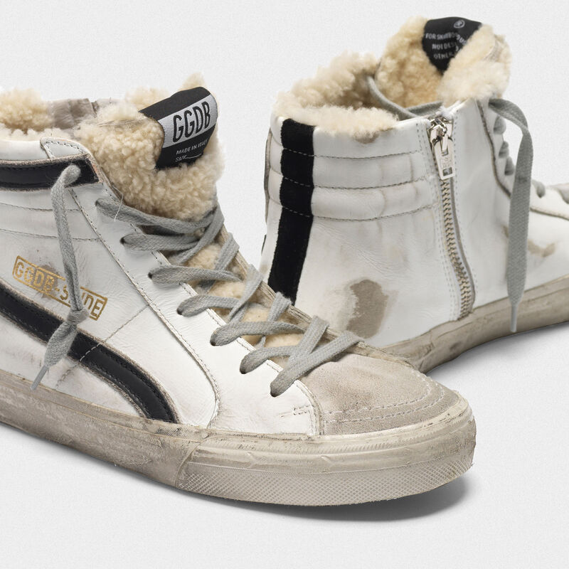 Golden Goose - Sneakers Slide in pelle con inserto in shearling in  image number null