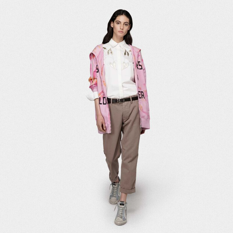 Golden Goose - Alice popilin shirt in white with gold leaf embroidery in  image number null