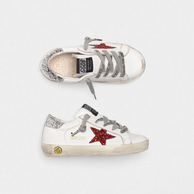 Superstar sneakers with glittery red star and glittery silver heel tab